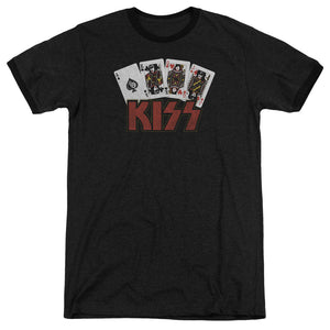 Kiss Poker Cards Heather Ringer Band T-Shirt