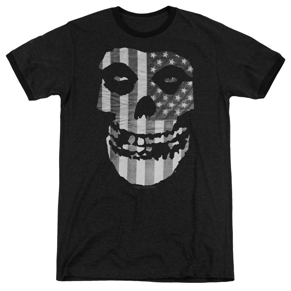 Misfits Fiend BW Flag Heather Ringer Band T-Shirt