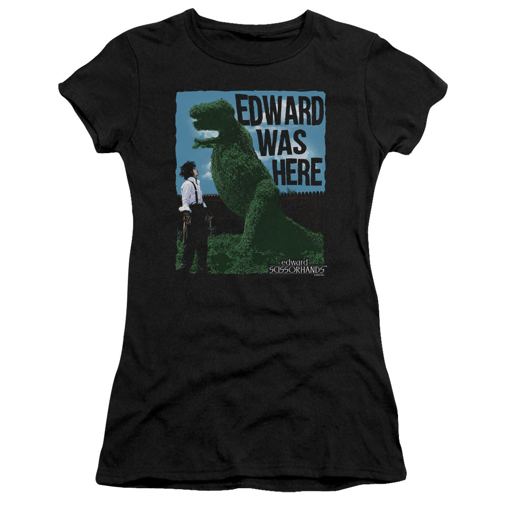 Edward Scissorhands Edward Was Here Junior Girls Sheer Movie T-Shirt