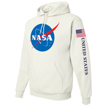 Load image into Gallery viewer, NASA Insignia Apollo Program White Pullover Hoodie Sweatshirt - Left Side