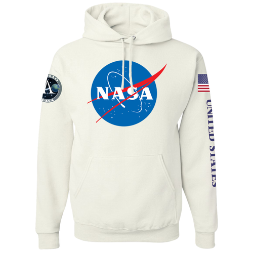 NASA Insignia Apollo Program White Pullover Hoodie Sweatshirt - Front