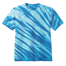 Load image into Gallery viewer, OmniTee Arctic Flow Blue Liquid Flow Hand Dyed T-Shirt Front