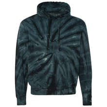 Load image into Gallery viewer, OmniTee Black Tie Dye Liquid Whirlwind Hand Dyed Hoodie Front