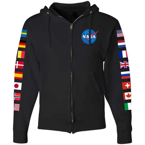 NASA International Space Station (ISS) Black FULL-ZIP Hoodie - Front