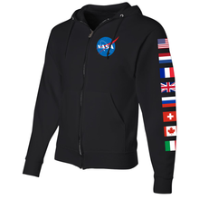 Load image into Gallery viewer, NASA International Space Station (ISS) Black FULL-ZIP Hoodie - Left Sleeve