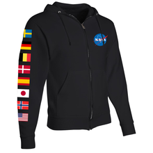 Load image into Gallery viewer, NASA International Space Station (ISS) Black FULL-ZIP Hoodie - Right Sleeve