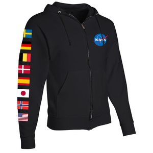NASA International Space Station (ISS) Black FULL-ZIP Hoodie - Right Sleeve