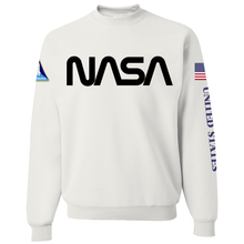 Load image into Gallery viewer, NASA Black Worm Logo Shuttle Patch Crewneck Sweater - Front