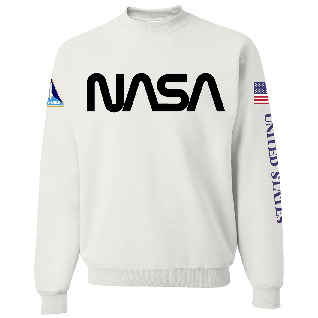 NASA Black Worm Logo Shuttle Patch Crewneck Sweater - Front