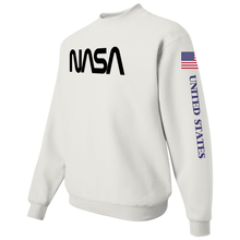 Load image into Gallery viewer, NASA Black Worm Logo Shuttle Patch Crewneck Sweater -  Left Side