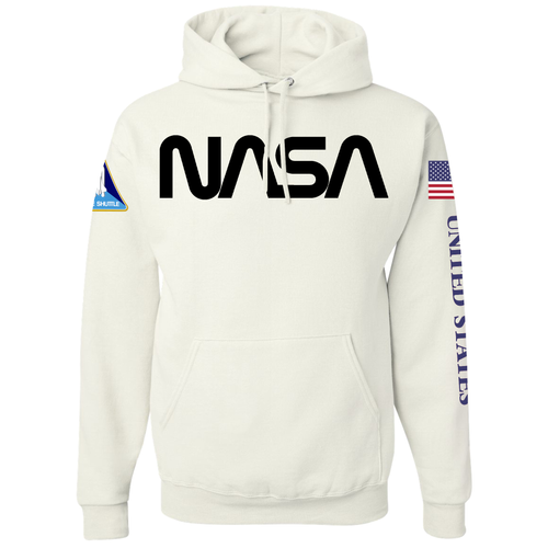NASA Black Worm Logo Shuttle Patch Custom Pullover Hoodie - Front