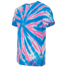 Load image into Gallery viewer, GTS Blue Bubblegum Tie Die Liquid Starfish Hand Dyed T-Shirt Side