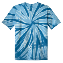Load image into Gallery viewer, OmniTee Blue Glacier Liquid Pinwheel Hand Dyed Youth T-Shirt Back