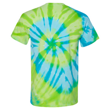 Load image into Gallery viewer, GTS Blue Lime Tie Die Liquid Staircase Hand Dyed T-Shirt Back