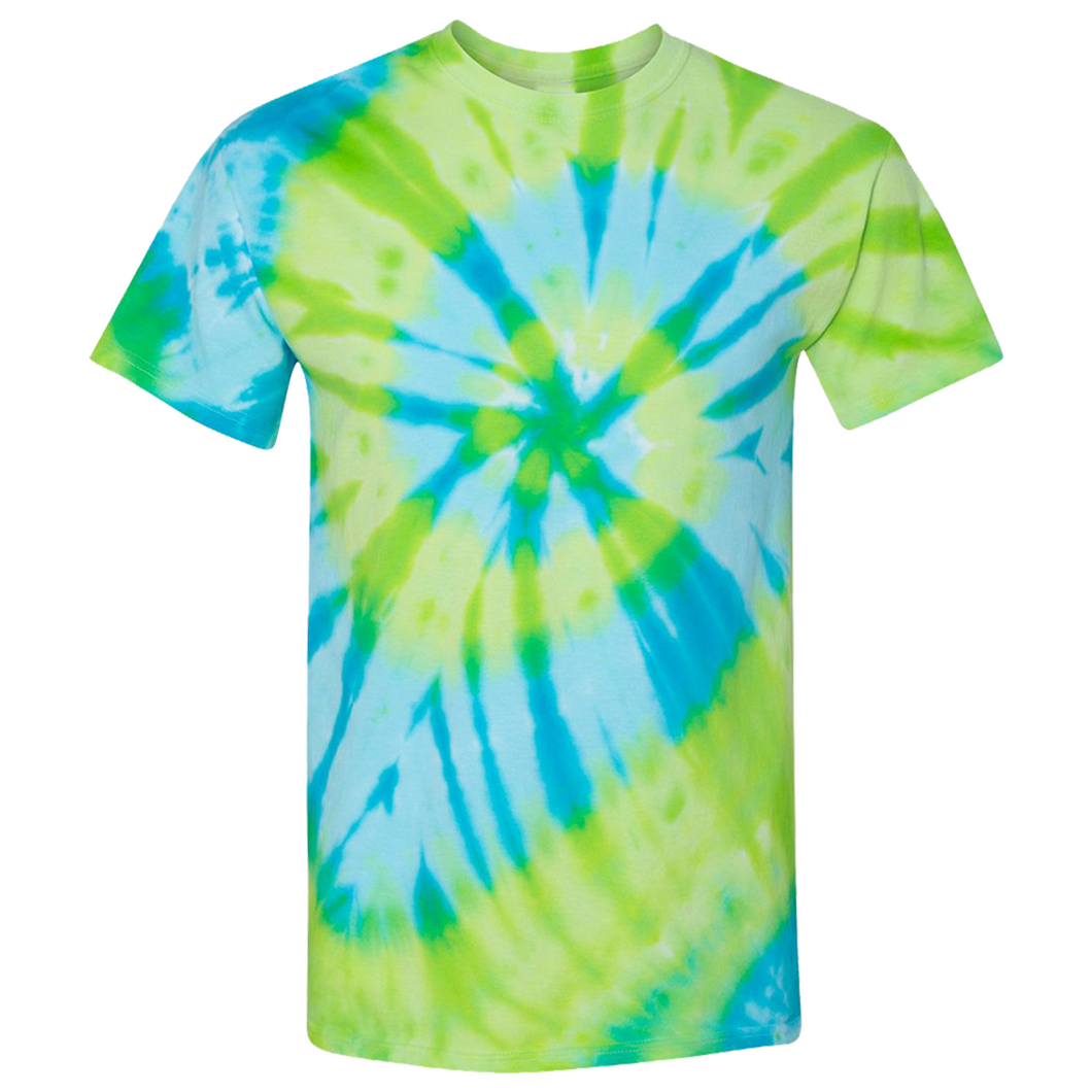 GTS Blue Lime Tie Die Liquid Staircase Hand Dyed T-Shirt