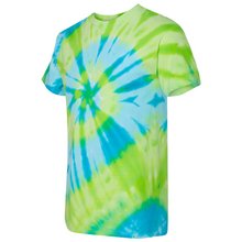Load image into Gallery viewer, GTS Blue Lime Tie Die Liquid Staircase Hand Dyed T-Shirt Side