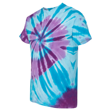 Load image into Gallery viewer, GTS Blue Sea Tie Die Liquid Staircase Hand Dyed T-Shirt Side
