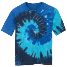 Load image into Gallery viewer, OmniTee Blue Torrent Liquid Tornado Hand Dyed Youth T-Shirt Front