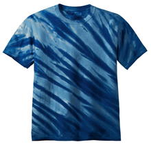 Load image into Gallery viewer, OmniTee Deep Ocean Blue Liquid Flow Hand Dyed T-Shirt Front