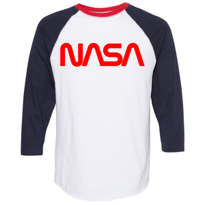 OmniT-Shirt Shirts NASA Fine Baseball T-Shirt Red Worm Logo