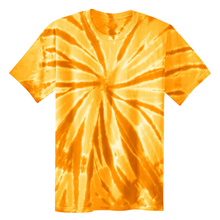 Load image into Gallery viewer, OmniTee Golden Gust Tie Dye Liquid Pinwheel Hand Dyed T-Shirt Front