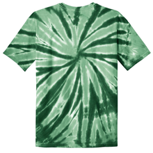 Load image into Gallery viewer, OmniTee Emerald Rush Liquid Pinwheel Hand Dyed Youth T-Shirt Back