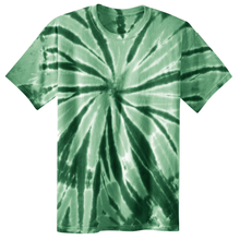 Load image into Gallery viewer, OmniTee Emerald Rush Liquid Pinwheel Hand Dyed Youth T-Shirt Front