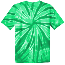 Load image into Gallery viewer, OmniTee Green Melon Tie Dye Liquid Pinwheel Hand Dyed T-Shirt Back