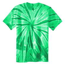 Load image into Gallery viewer, OmniTee Green Melon Tie Dye Liquid Pinwheel Hand Dyed T-Shirt Front