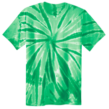 Load image into Gallery viewer, OmniTee Green Melon Liquid Pinwheel Hand Dyed Youth T-Shirt Front