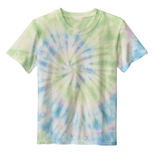 Load image into Gallery viewer, OmniTee Seafoam Green Swirl Liquid Tornado Hand Dyed Youth T-Shirt Front