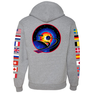 NASA International Space Station (ISS) Grey FULL-ZIP Hoodie Sweatshirt -  Back