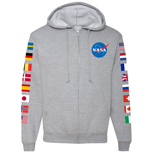 NASA International Space Station (ISS) Grey FULL-ZIP Hoodie Sweatshirt - Front