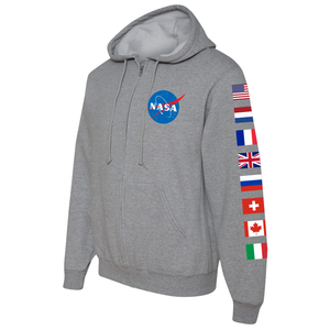 NASA International Space Station (ISS) Grey FULL-ZIP Hoodie Sweatshirt - Left Sleeve