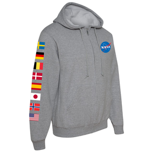 NASA International Space Station (ISS) Grey FULL-ZIP Hoodie Sweatshirt - Right Sleeve