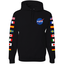 Load image into Gallery viewer, NASA Astronaut Group 16 BLACK Pullover Hoodie Sweatshirt with Flags on Sleeves