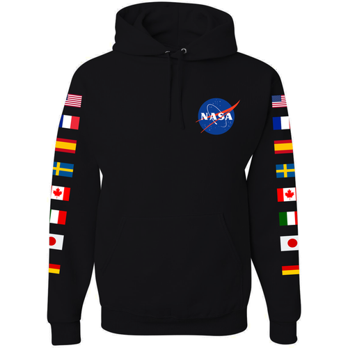 NASA Astronaut Group 16 BLACK Pullover Hoodie Sweatshirt with Flags on Sleeves