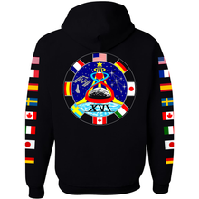 Load image into Gallery viewer, NASA Astronaut Group 16 BLACK Pullover Hoodie Sweatshirt with Flags on Sleeves back