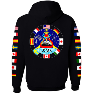 NASA Astronaut Group 16 BLACK Pullover Hoodie Sweatshirt with Flags on Sleeves back