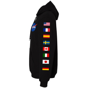 NASA Astronaut Group 16 BLACK Pullover Hoodie Sweatshirt with Flags on Sleeves side