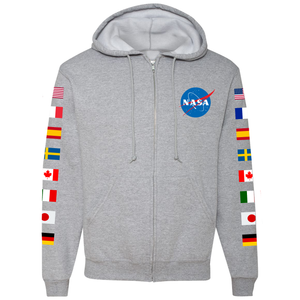 NASA Astronaut Group 16 Athletic Grey FULL-ZIP Hoodie - Front