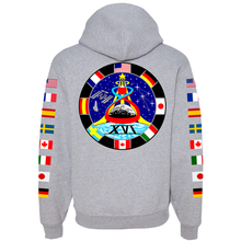 Load image into Gallery viewer, NASA Astronaut Group 16 Athletic Grey PULLOVER Hoodie Sweatshirt with Flags on Sleeves back
