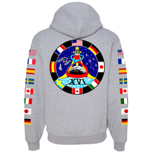 NASA Astronaut Group 16 Athletic Grey PULLOVER Hoodie Sweatshirt with Flags on Sleeves back