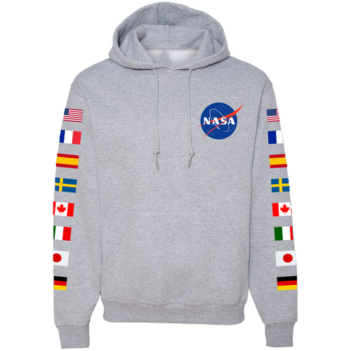 NASA Astronaut Group 16 Athletic Grey PULLOVER Hoodie Sweatshirt with Flags on Sleeves