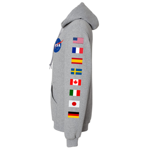 NASA Astronaut Group 16 Athletic Grey PULLOVER Hoodie Sweatshirt with Flags on Sleeves side view