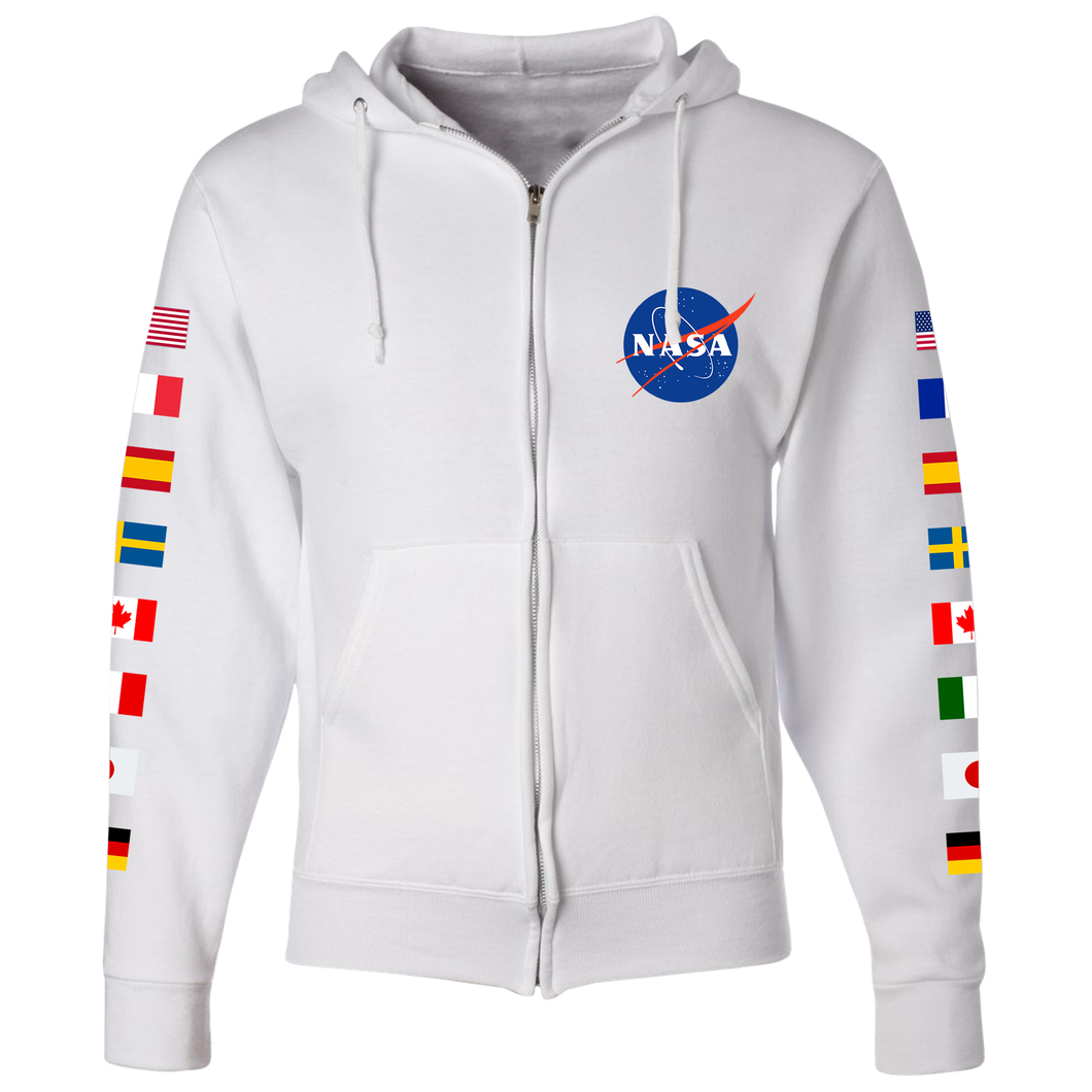 NASA Astronaut Group 16 White Pullover Hoodie Sweatshirt with Flags on Sleeves back - Front