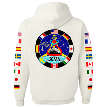 Load image into Gallery viewer, NASA Astronaut Group 16 White Pullover Hoodie Sweatshirt with Flags on Sleeves back