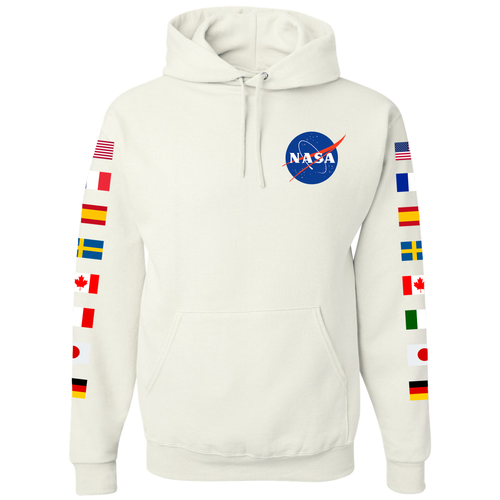 NASA Astronaut Group 16 White Pullover Hoodie Sweatshirt with Flags on Sleeves