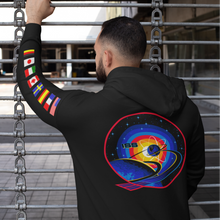 Load image into Gallery viewer, NASA International Space Station (ISS) Black PULLOVER Hoodie Sweatshirt with Flags on Sleeves