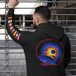 NASA International Space Station (ISS) Black PULLOVER Hoodie Sweatshirt with Flags on Sleeves